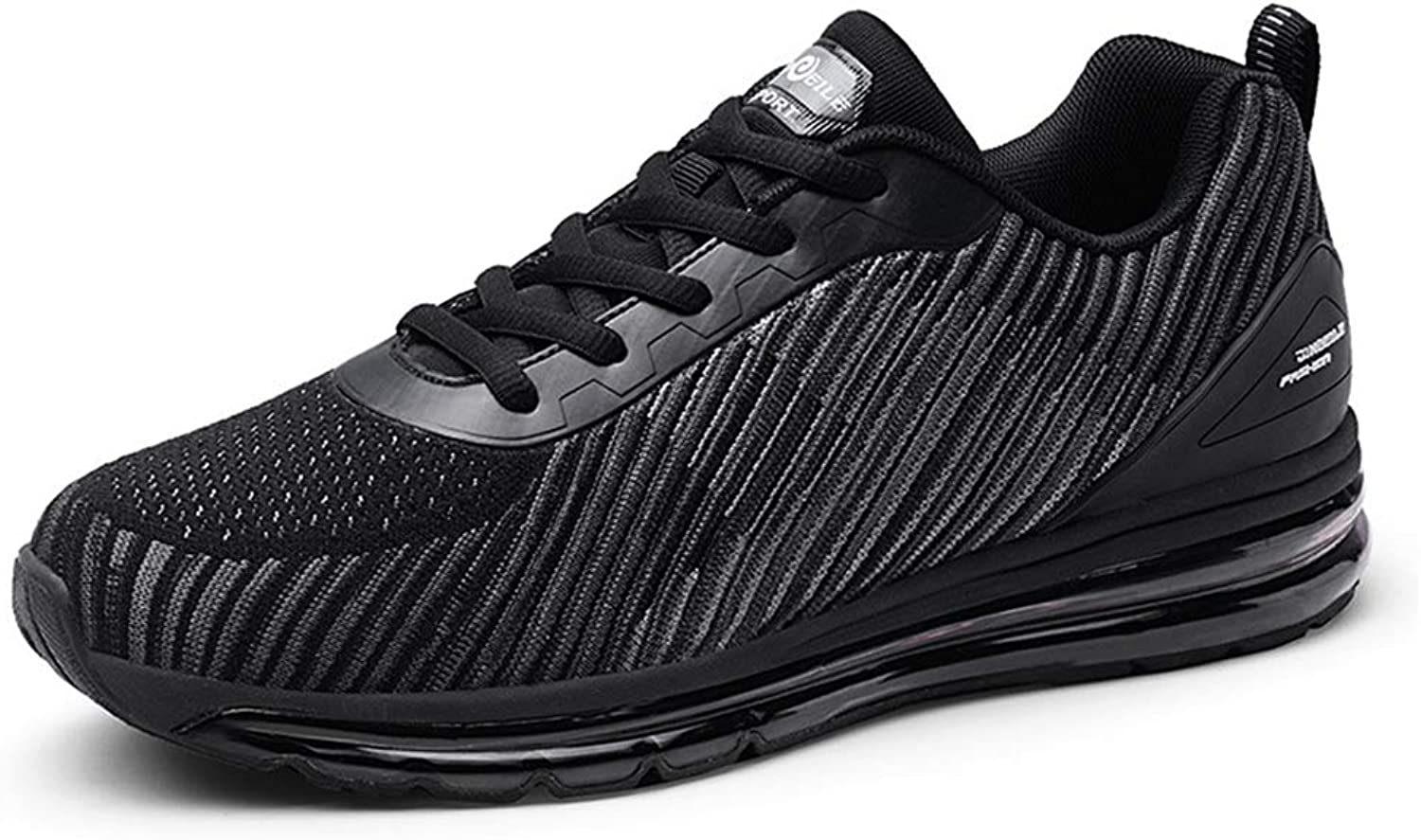 Men's shoes Knitting Low-Top Sneakers Full Palm Air Cushion Trail Running shoes Casual Daily Walking shoes Fall & Winter New,Black,39