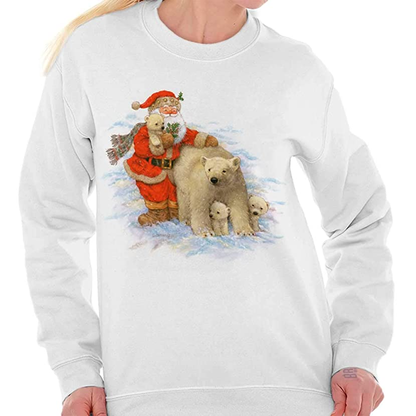 Santa Claus Polar Bear North Pole Christmas Crewneck Sweatshirt