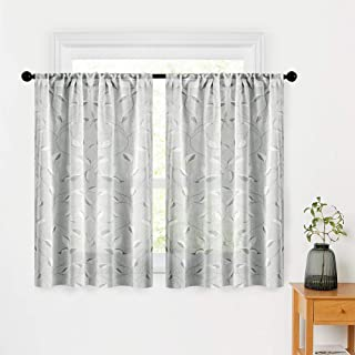 MRTREES Linen Textured Tier Curtains Leaves Printed Kitchen Tiers 24 inches Long Cafe Curtains Grey Leaf Print Bathroom Short Rod Pocket Basement Half Window Treatment 2 Panels