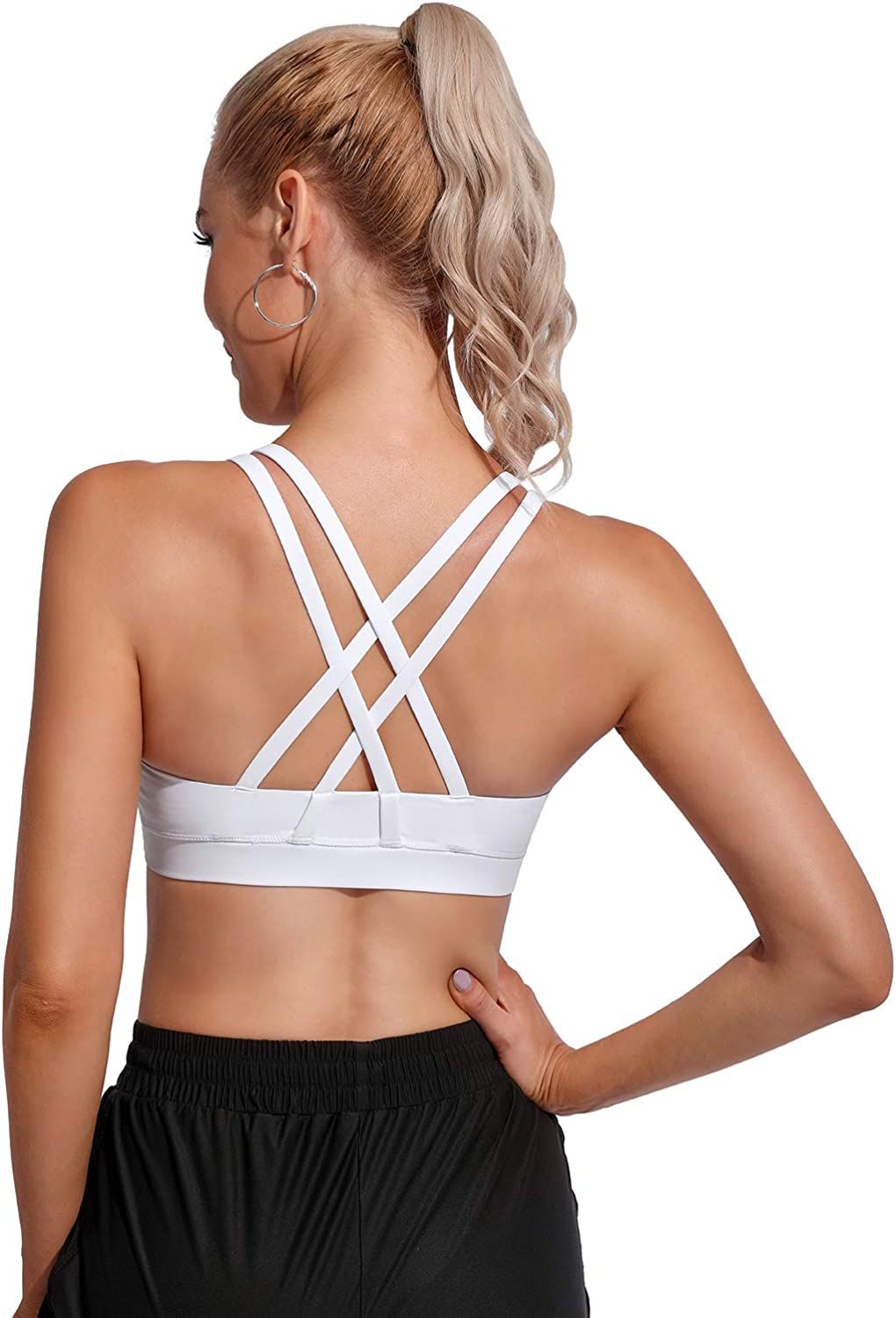 Promover Padded Sports Bras for Women Medium Support Activewear Strappy Wirefree Yoga Workout Tops