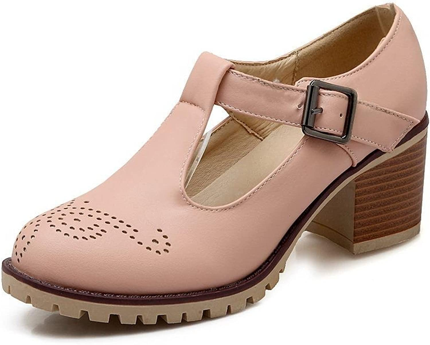 WeenFashion Women's Soft Material Buckle Round Closed Toe Kitten-Heels Solid Pumps-shoes