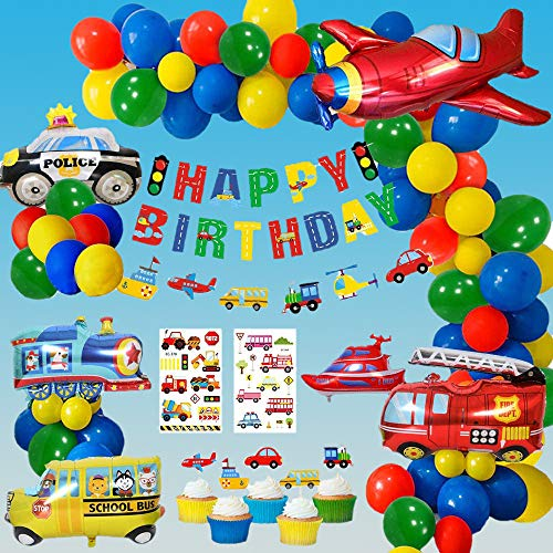 Decoraciones Fiesta Cumpleaños Pastel, Cumpleaños Decoraciones Transporte Tema Avión Tren Coche de policía Autobús Escolar Yate Camión de Bomberos Primeros de la Torta para Niño Cumpleaños