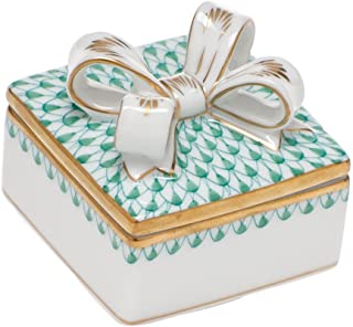 Herend Box with Bow Porcelain China Green Fishnet