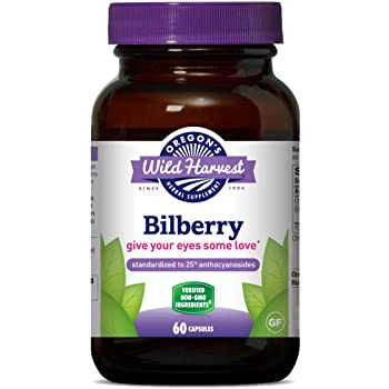 Oregon's Wild Harvest Non-GMO Bilberry Capsules Herbal Supplements, 60 Count