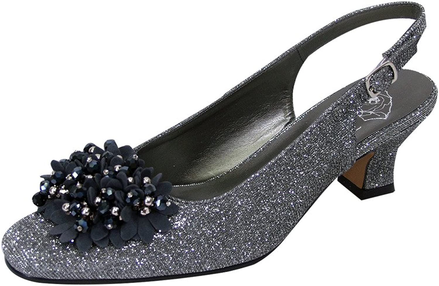 Floral FIC Natalie Women Extra Wide Width Metallic Flower Bow Slingback Pewter 8.5