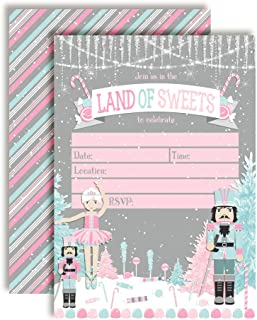 Nutcracker Land of Sweets Themed Holiday Christmas Birthday Party Invitations, 20 5