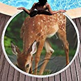 Kotdeqay rundes Strandtuch, süßes Sika-Hirsch-Hippie-Handtuch, extra groß, sanddicht, Yogamatte mit Quasten
