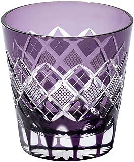 江戸切子 矢来魚子紋 天開オールドグラス(紫)TB90425M 木箱入り 太武朗工房直販 日本製