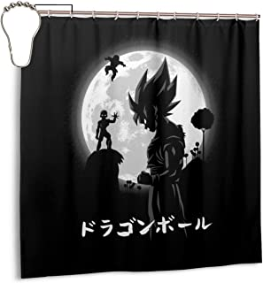 ENXIANGXIJ Waterproof Polyester Fabric Shower Curtain Dragon Ball Z Goku Freiza Moon Print Decorative Bathroom Curtain with Hooks,72