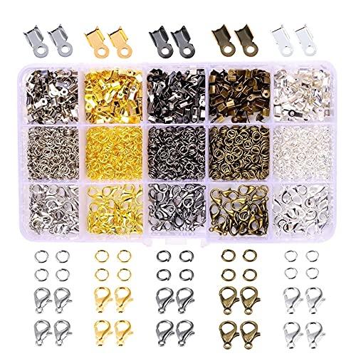 Zasvec Cierres para Pulseras 5 Colores Kit para Hacer Broches Pulseras Cierres de Mosquetón Broche de Langosta con Anillas Abiertas y Extremos del Cordón de Crimpado 1600 Piezas