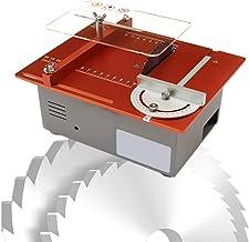 Sierra de Mesa portátil de sobremesa, Mini Sierra de Mesa Ajustable, Sierra de Mesa eléctrica 120W con Hoja de Sierra Circular y Adaptador de Corriente, Velocidad Variable 2500-5000 RPM para Corte de