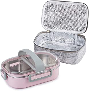 Lille Home 22oz Stainless Steel Leakproof 2-Compartment Lunch Box, Insulated Bento Box, Portion Control Food Container with Insulated Lunch Bag, Adults, Men, Women(Pink)