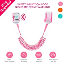 Lehoo Castle Toddler Leash with Induction Lock, Night Reflective Toddler Safety Harnesses Leashes, Anti Lost Wrist Link Safety Wrist Link for Toddlers, Safety Harness for Kids(Rose)