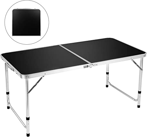 """lowest FiveJoy Folding Camping Table, 4 FT Aluminum online Height Adjustable lowest Lightweight Desk Portable Handle, Roll Up Top Weatherproof and Rust Resistant Table for Outdoor Picnic Beach Backyard, 47"""" x 24"""",Black online"""