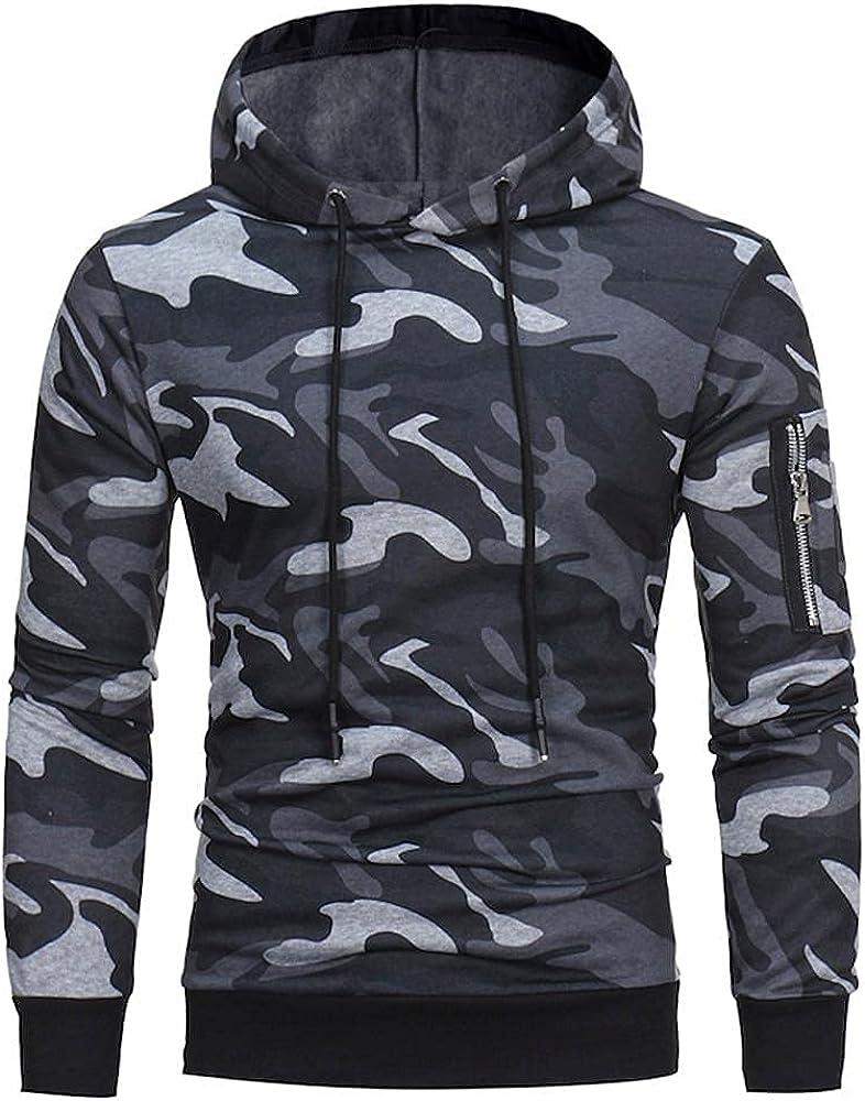 Mens Long Sleeve Hoodie Camouflage Jacket, Casual Lapel Neck Drawstring Tunic Sweaters Classic Zipper Jacket Coat