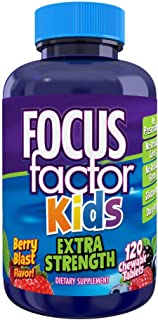 Focus Factor, Kids Extra Strength Daily Chewable for Brain Health Support, White Berry 120 Count