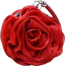 CLARA Women Rose Flower Clutch Purse Satin Handbag Wedding Evening Party Bag