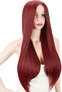 Kalyss Women's Wig Long Straight Wine Red Middle Parting Heat Resistant Yaki Synthetic Cosplay Costume Full Hair Wig