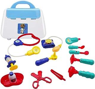 おもちゃのお医者さんキット 子供用 医療 ごっこ遊びセット お医者さんと看護師 ロールプレイトイ 電子聴診器 ライト&サウンド付き 教育的 3~6歳の男の子と女の子へのギフトに最適 (13個)