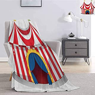Luoiaax Circus Children's Blanket Illustration of Retro Circus with Flag Nostalgic Fun Festival Carnival Venue Artistic Lightweight Soft Warm and Comfortable W70 x L70 Inch Red White