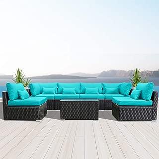 Modenzi 7G-U Outdoor Sectional Patio Furniture Espresso Brown Wicker Sofa Set (Turquoise)