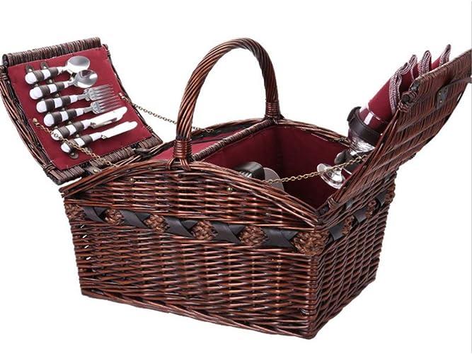 Panier de pique-nique portable en plein air 4 personne poignée pliante panier panier de pique-nique avec couverts, assiettes, verres, vaisselle et couverture (Couleur   marron)