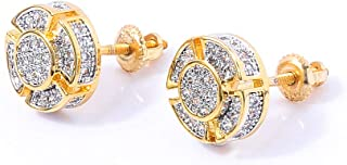 14K Gold Plated 925 Sterling Silver Iced out CZ Hypoallergenic Round Screw Back Stud Earrings for Men