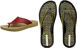 FLITE Women's Red Slippers & Flite Women's Black Yellow Flip-Flops-7 UK/India