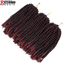 3 Pack Spring Twist Ombre Colors Crochet Braids Synthetic Braiding Hair Extensions Low Temperature Fiber (T1B BUG)