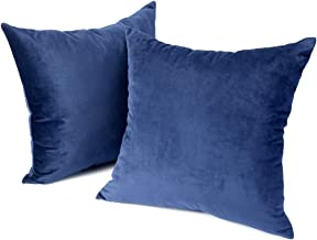 Weaverbird Solid Decorative Throw Pillow Covers for Couch Sofa Home Decoration Soft 18 x 18 and 20 x 20 inch, Set of 2 - Dark Blue