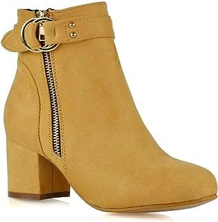 ESSEX GLAM Womens Block Heel Ankle Boots Ladies Zip Buckle Ankle Strap Low Mid Heel Smart Booties Shoes