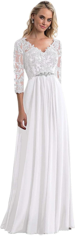 Women's V-Neck Lace Applique Mother of trend Excellent rank Be The Bride Long Dresses