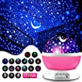 Star Projector, Kids' Party Centerpieces, Multiple Colors Night Light Lamp Romantic Rotating Cosmos Star Sky Moon Projector for Children Kids Bedroom (Pink)