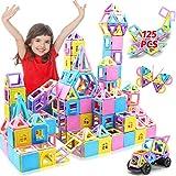 HOMOFY 125pcs Schloss Magnetische Bausteine Kacheln -3D Regenbogen Magnetische Fliesen mit Spiel Magnet Figuren für Kinder-Geschenk Spielzeug für 3 4 5 6 7 8 Jahre Jungen Mädchen