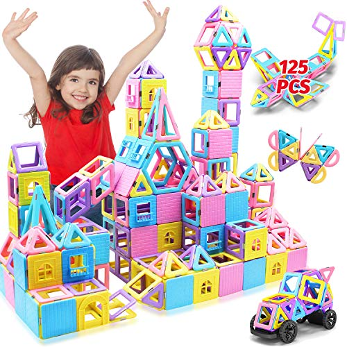 HOMOFY 125 bloques de construcción magnéticos de azulejos – 3D arco iris azulejos magnéticos con juego de figuras magnéticas para regalo de niños para 3, 4, 5, 6, 7, 8 años, niños y niñas