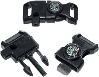 10 Piece Pack Black 5/8 Inch Compass Flint Firestarter Scraper Whistle Utility Buckles - Ideal for Camping, Paracord Bracelets, Outdoors, Emergency, Travel, Survival, Travel Kits