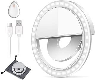 Selfie Light, BESTTY Super Slim [Rechargable Battery] Selfie Ring Light for Camera Selfie LED Camera Photography Light, Protection Eyes Natural Light (White) contain Silicone Makeup Sponge