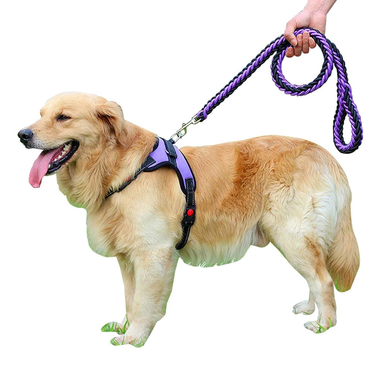 OTOKU ハーネス リード付き 胴輪 首輪 犬 猫 小型 中型 大型 軽量 安全 通気 着やすい 調節でき 夜間反射 出かけ 散歩 歩行補助 多色 多サイズ 多選択 (S, 紫)