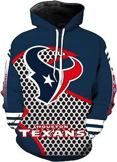 JJCat Men's Hooded Long Sleeve 3D Digital Print Houston Texans Team Pullover Hoodies