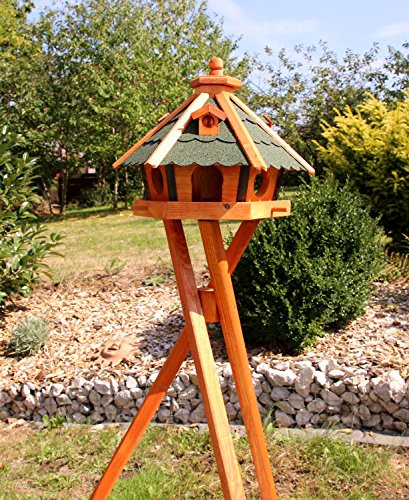 Vogelhuis, vogelhuisje met zonnelamverlichting met en zonder standaard behandeld type 23 (groen, met standaard)