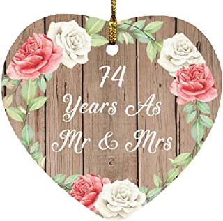 74th Anniversary 74 Years As Mr & Mrs - Heart Wood Ornament B Christmas Tree Hanging Decor - for Wife Husband GF BF Wo-Men...