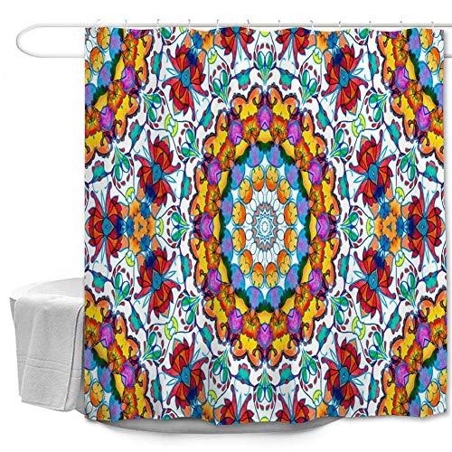 Oduo Duschvorhänge für Badewannen - Mandala Stil Duschvorhang Wasserdicht Antischimmel Bad Vorhang Waschbar Badewanne Vorhang mit 10 oder 12 Duschvorhangringe (Exotischer Stil,180x200cm)