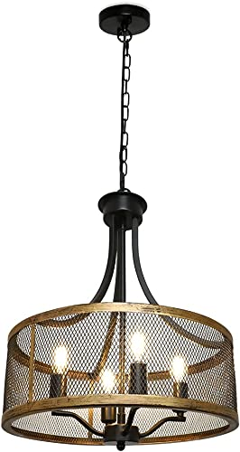 discount DLLT 4-Light sale Farmhouse Chandelier, Industrial Adjustable Pendant Hanging Light Fixtures, Archaize Metal Drum Chandeliers with Matte Black & Sweep Gold Finished for Dining Room Kitchen lowest Living Room online sale