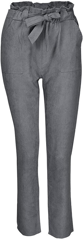 Women Summer Pants 9/10 Casual Pants Elegant Pencil Pants Loose Pleated Pants Slim Fit Pocketed Pants with Belt