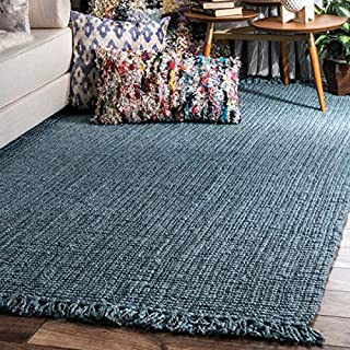 "nuLOOM Natura Collection Chunky Loop Jute Rug, 8' 6"" x 11' 6"", Blue, 6"" 6"" (B00XVY3FLI) 