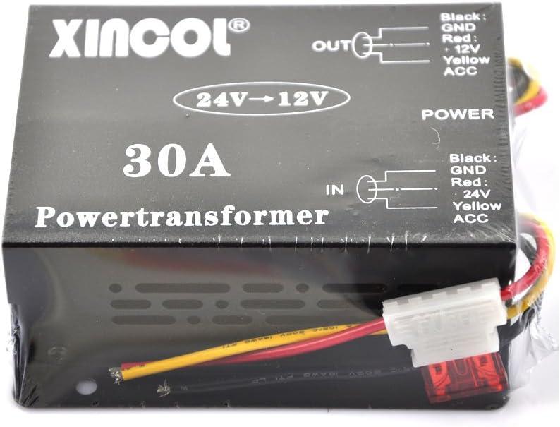 XINCOL® 24V a 12V Paso Abajo Transformador Convertidor Descenso Reducer Regulador 30A 360W Poder Suministro Adaptador para Auto Coche Camión Vehículo Barco Solar Sistema