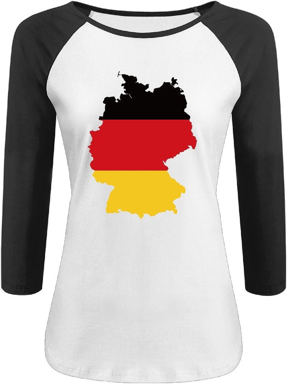 Women's Germany Map Flag 3 4 Sleeve O Neck Raglan Baseball Tee Shirt Black
