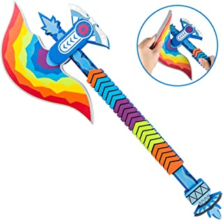 Mekarsoo Children Foam Toys, Realistic Foam Battle Axe, Weapon Toy for LARP Costume Party, Halloween, Birthday Party, Kids Party Favor (Rainbow Axe)