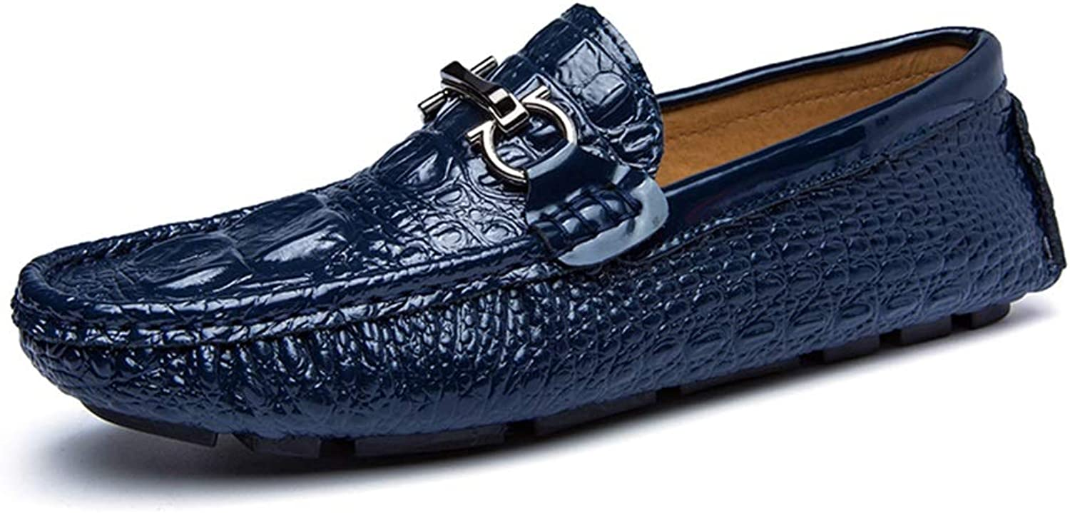 Mens loafers Flats Mens Loafer Leather Casual Driving Loafer For Men Boat Moccasins Slip On Style PU Leather Personality Texture Metaldecor shoes (color   bluee, Size   8 UK)