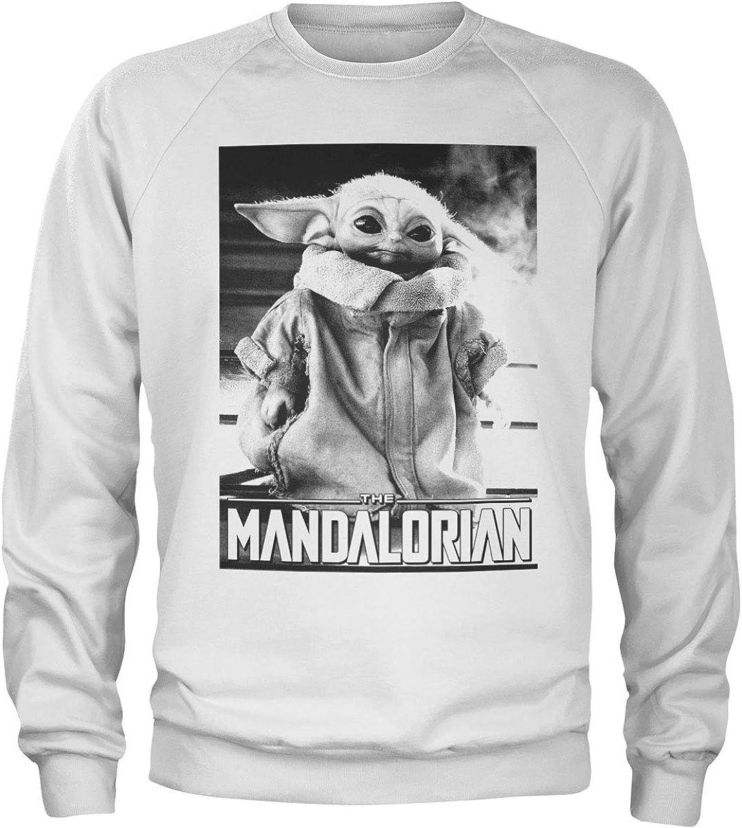 Officially Licensed Baby Yoda Photo Sweatshirt (White), S